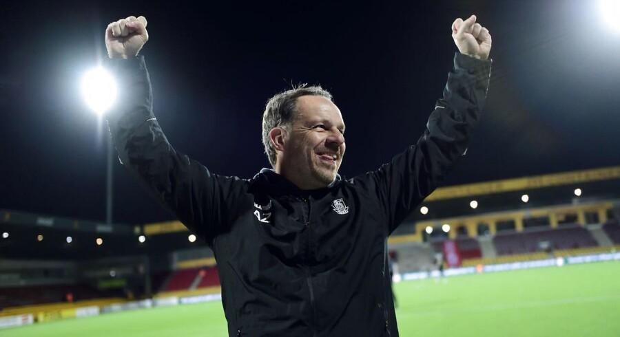Cheftræner Alexander Zorninger fra Brøndby IF jubler efter Alka Superliga-kampen (mesterskabsspil) mellem FC Nordsjælland og Brøndby på Right To Dream Park i Farum, 22. april 2018.