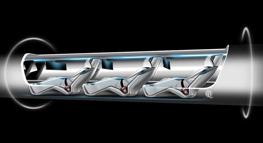 Her er det en illustration af Elon Musks Hyperloop.
