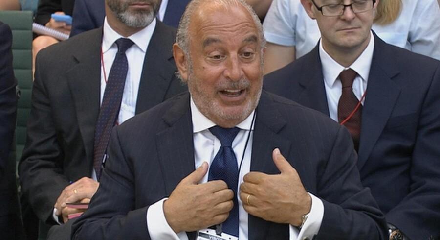 Philip Green under krydsforhøret sidste uge i det parlamentariske udvalg, der undersøger omstændighederne omkring varhusekæden BHS' (British Home Stores) fallit. Foto; Reuters