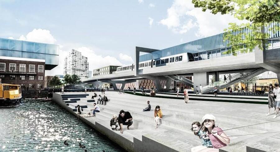 Sådan kommer metrostationen Orientkaj nok til at se ud - den åbner i 2019/2020 som endestation på den lille metrogren til Nordhavn. Senere forlænges afgreningen formentlig med en sløjfe eller ring med flere stationer, når Nordhavn er mere udbygget.
