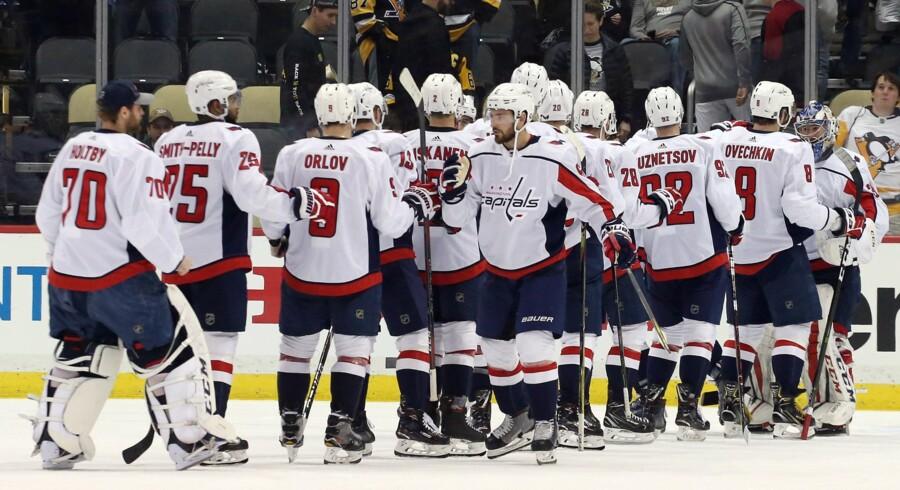 Washington Capitals slutter for tredje år i træk på førstepladsen af Metropolitan Division i NHL. Scanpix/Charles Leclaire