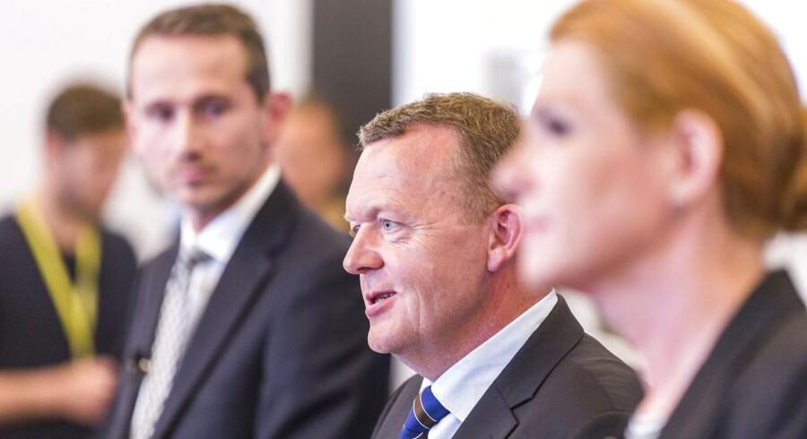 Venstre. Pressemøde i Grupperummet på Christiansborg. Lars Løkke Rasmussen, Kristian Jensen og Støjberg.