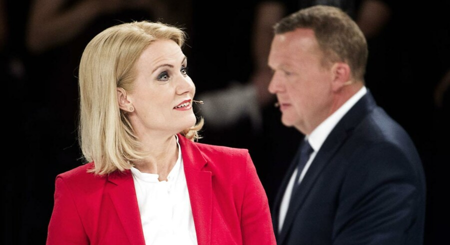 Helle Thorning-Schmidt og Lars Løkke Rasmussen under aftenens partilederrunde.