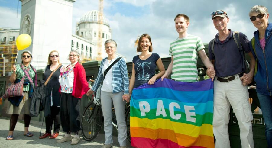 Deltagere i søndagens demonstration mod racisme i Berlin. Scanpix/Jorg Carstensen