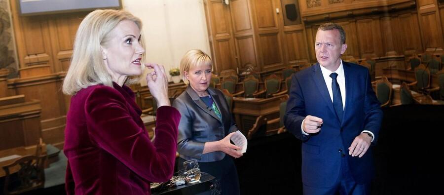 Helle Thorning Schmidt og Lars Løkke Rasmussen i den sidste duel på DR inden valget i morgen.