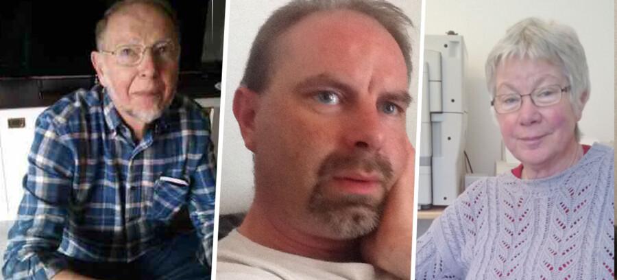 Politiet efterlyser familien Kragh. Her ses Jørgen Kragh (t.v.), der er gift med Kirsten Kragh (t.h.). Sammen har de sønnen Lars Kragh (i midten).