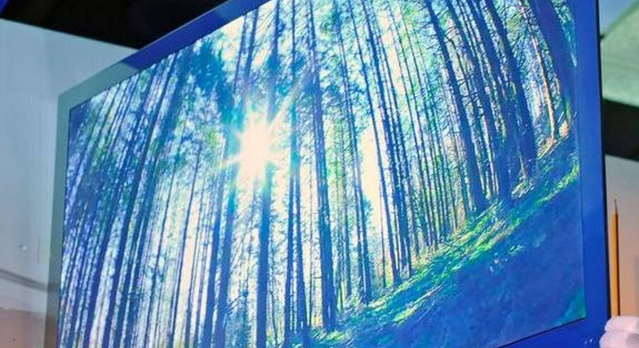 Det er ikke alene tyndt. Panasonics nye LED 9000-fladskærm kan også omsætte almindelige TV-billeder til 3D og dermed give dem dybde. Man skal dog stadig have et par grimme, sorte briller på for at kunne få oplevelsen. Foto: Ethan Miller, AFP/Scanpix