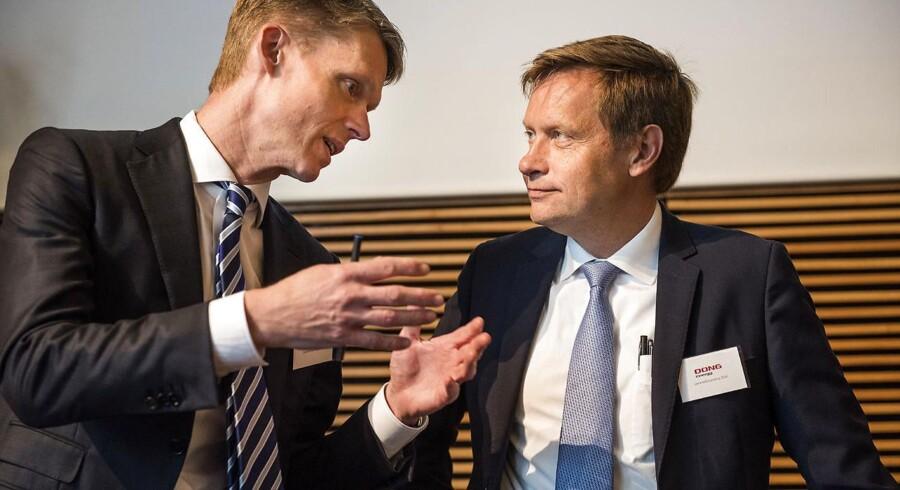 Direktør i DONG Energy, Henrik Poulsen og bestyrelsesformand Thomas Thune Andersen. (Foto: Søren Bidstrup/Scanpix 2016)