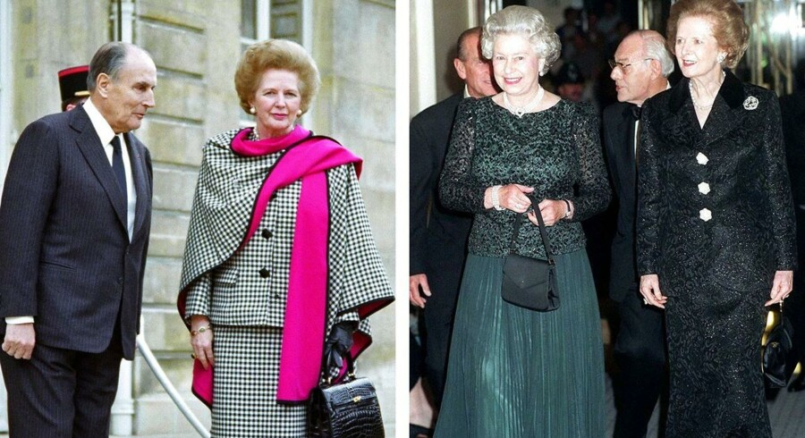 Margaret Thatcher i to af de dragter (sammen med Mitterrand og dronning Elisabeth II), der er sat på auktion hos Christies, men som mange i Storbritannien mener, burde være udstillet for eftertiden.