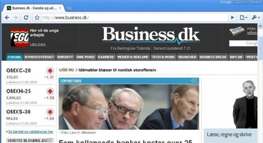 Sådan ser Business.dk ud gennem Googles Internet-program Chrome, som nu følger med på nye PCer fra Sony.