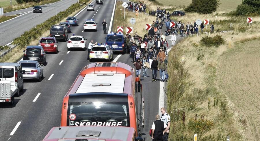 Fra mandagens kaotiske tilstande på motorvejen nord for Rødby.