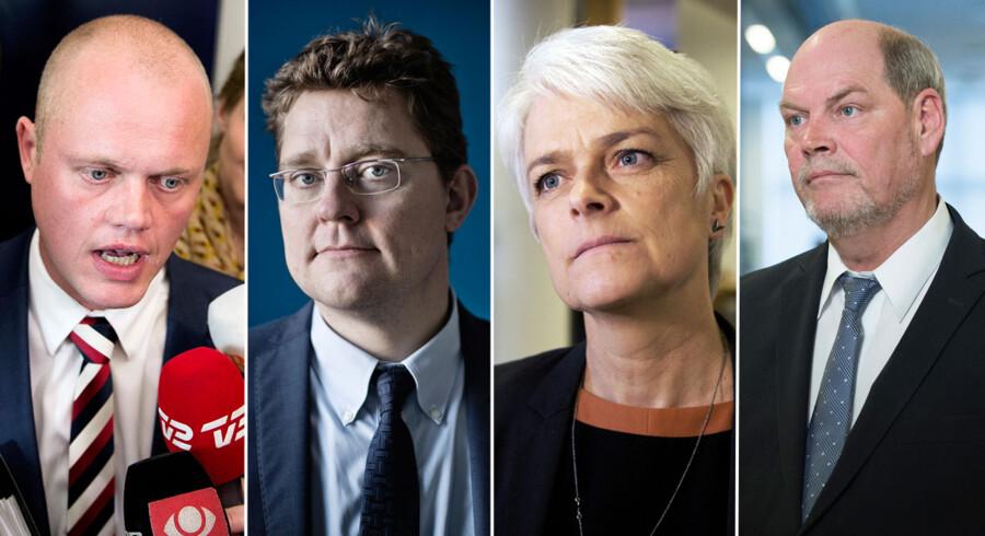 En række profiler blev ikke genvalgt ved folketingsvalget sidste måned. Fra venstre: Peter Christensen (V), Rasmus Helveg Petersen (R), Annette Vilhelmsen (SF) og Carsten Hansen (S).