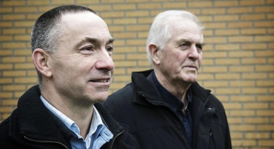 Kim Dyre (t.v.) og Frank Olsen har begge arbejdet for Elkraft og var med til at bygge havvindmølleparken Vindeby.