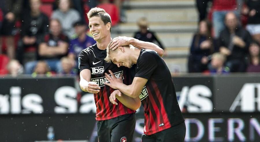 FC Midtjylland - FC Nordsjælland , Alka Superliga, MCH-Arena, Herning, 13.august: FCMs Rasmus Nissen har scoret til 2-0, her med Jonas Borring (foto: Henning Bagger / Scanpix 2017)