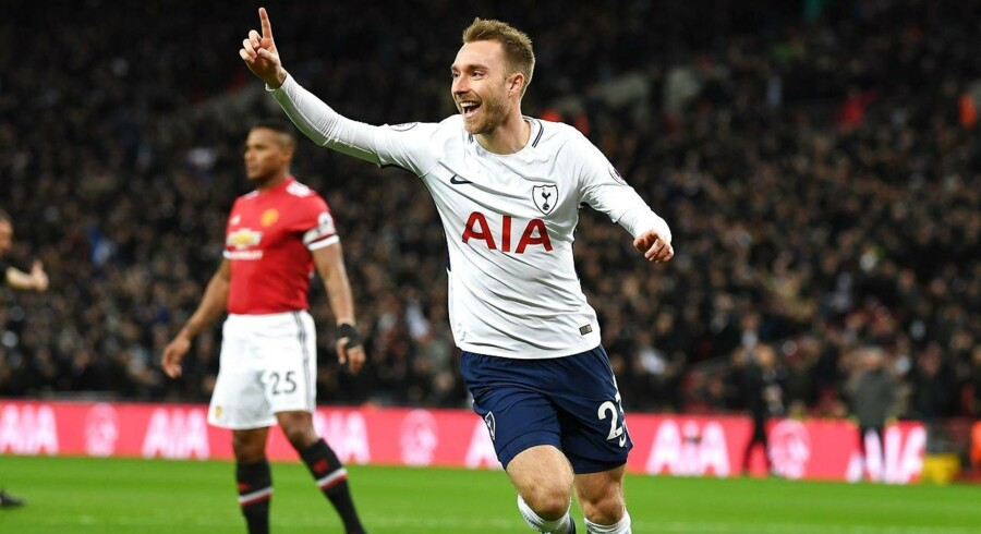 epa06488723 Tottenham Hotspur's Christian Eriksen celebrates scoring during the English Premier League soccer match between Tottenham Hotspur and Manchester United at Wembley Stadium, London, Britain, 31 January 2018. EPA/NEIL HALL EDITORIAL USE ONLY.No use with unauthorized audio, video, data, fixture lists, club/league logos or 'live' services. Online in-match use limited to 75 images, no video emulation.No use in betting, games or single club/league/player publications