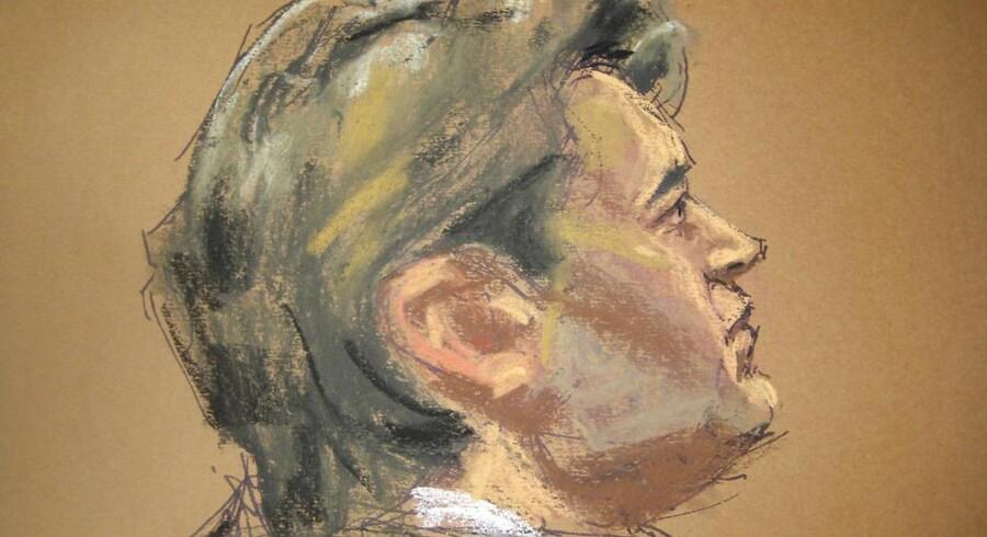 Ross Ulbricht, den angivelige bagmand bag Silk Road, er dømt skyldig i alle syv anklager. Her er han tegnet i retten i New York. Illustration: Jane Rosenberg, Reuters/Scanpix