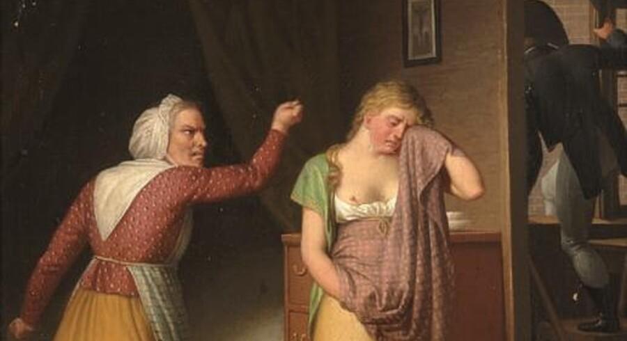 Der er igen i november guldaldermalerier på auktion hos Bruun Rasmussen. Her ses et udsnit af C.W. Eckersbergs »En falden Piges Historie. Elskeren flygter ud ad vinduet«.