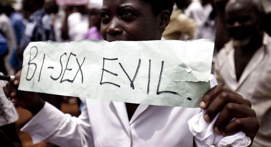 ARKIVFOTO 2010 fra en demonstration i Uganda mod bi- og homoseksuelle.