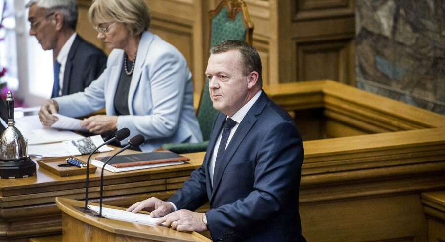 Lars Løkke Rasmussen på talerstolen til Folketingets åbning i dag.
