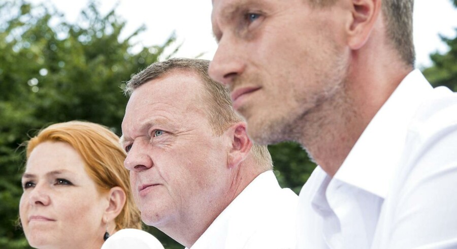 ARKIVFOTO: Lars Løkke Rasmussen, Kristian Jensen og Inger Støjberg på Venstrers sommergruppemøde