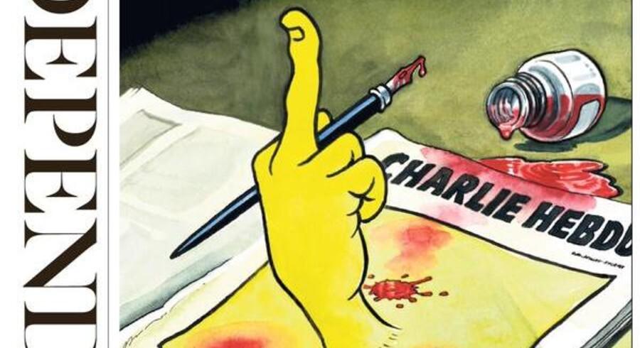 """Efter angrebet på satirebladet Charlie Hebdo og drabet på 12 mennesker, går nyhedsredaktioner kloden over nu i """"kamp"""" i ytringsfrihedens navn./The Independent »...« et billede siger mere end tusind ord"""
