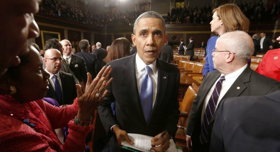 Barack Obama under State of the Union-begivenheden i 2014.