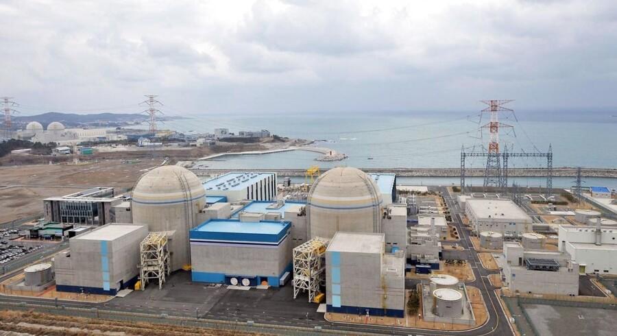 Sydkoreansk atomkraftværk med reaktorerne Shin-Kori 1 og 2 nær havnebyen Busan,