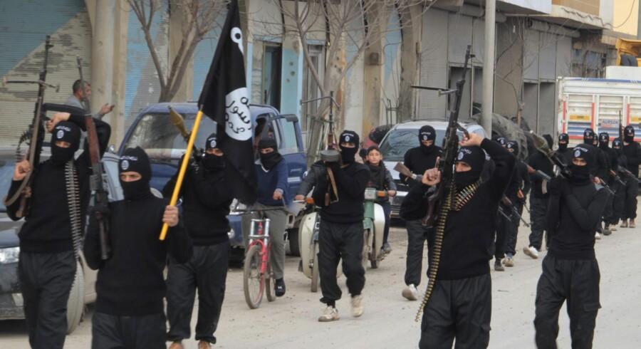 Medlemmer af islamisk Stat paraderede sidste år gennem den syriske by Tel Abyad, der ligger tæt på den tyrkiske grænse.