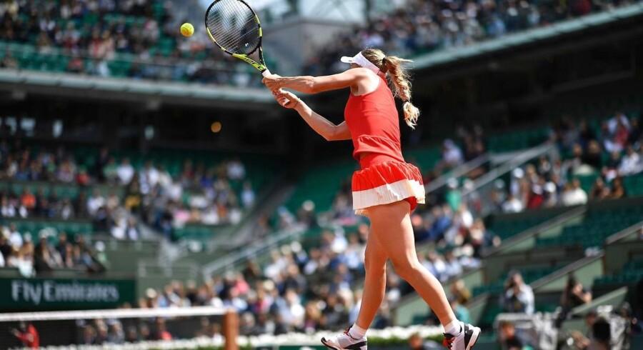 Caroline Wozniacki i kampen mod Svetlana Kuznetsova.