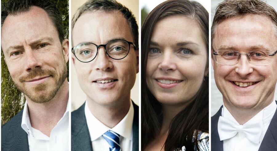 Fra Venstre mod højre: Jakob Ellemann-Jensen, Esben Lunde Larsen, Louise Schack Elholm, Jacob Jensen. Fotocollage.