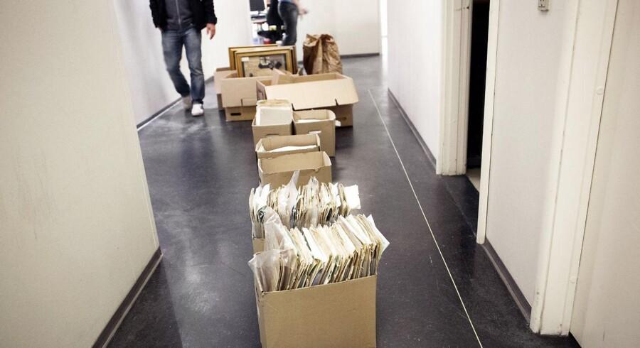 Tygegods fra Rigsarkivet er her fotograferet på Politistation City i København