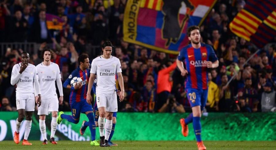 Barcelona leverede et af sportshistoriens mest usandsynlige comebacks, da de scorede tre mål i løbet af kampens sidste syv minutter og vandt 6-1 over Paris Saint-Germain. Foto: AFP