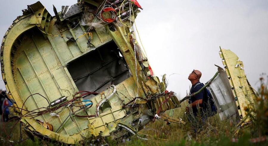 Vraget af MH17 nær landsbyen Hrabove i Ukraine.