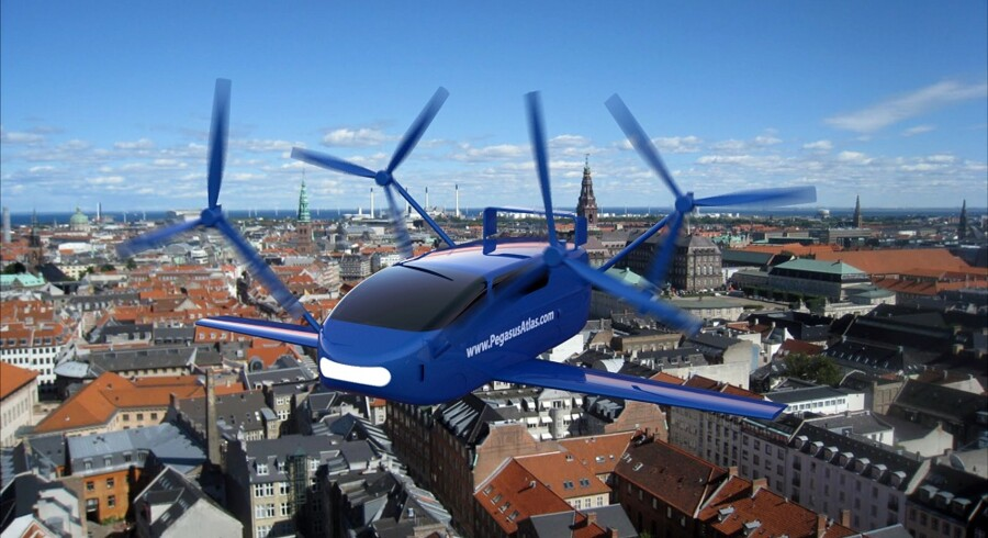 Fartøjets navn er Pegasus Atlas – på én gang en bil, en flyvemaskine og en såkaldt quadrokopter. Og dermed gjort af det stof, der får drengehjerter til at banke og fantasien til at få vinger.