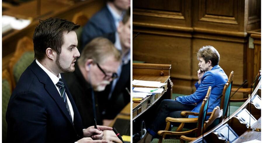 Simon Kollerup (S) havde mange spørgsmål til miljø- og fødevareminister Eva Kjer Hansen (V) under dagens tredjebehandling af landbrugspakken. Pakken blev vedtaget med et borgerligt flertal.