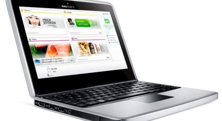 Her er den første PC fra mobilgiganten Nokia, en Booklet 3G. Prisen kendes endnu ikke. Foto: Nokia