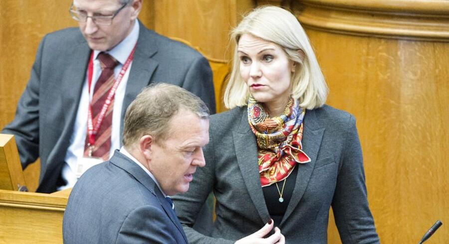 ARKIVFOTO. Statsministerens spørgetime i Folketinget. Statsminister Helle Thorning-Schmidt og Lars Løkke Rasmussen (V)