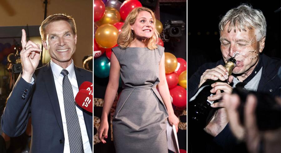 Torsdag den 18. juni blev der afholdt valg i Danmark og det skulle fejres.Her ses fra venstre mod højre, Kristian Thulesen Dahl (DF), Johanne Schmidt Nielsen (Ø) og Uffe Elbeck (Å).Klik videre for at se flere billeder fra valgaften.