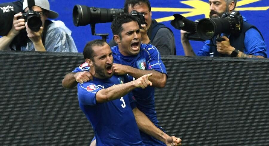 Giorgio Chiellini scorede før pausen, da Italien sendte Spanien ud af EM. Scanpix/Miguel Medina