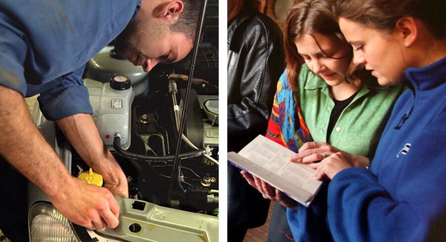 Skal man vælge bøger eller biler? En nyuddannet mekaniker bliver hurtigere lønsom end en studerende på videregående uddannelser.