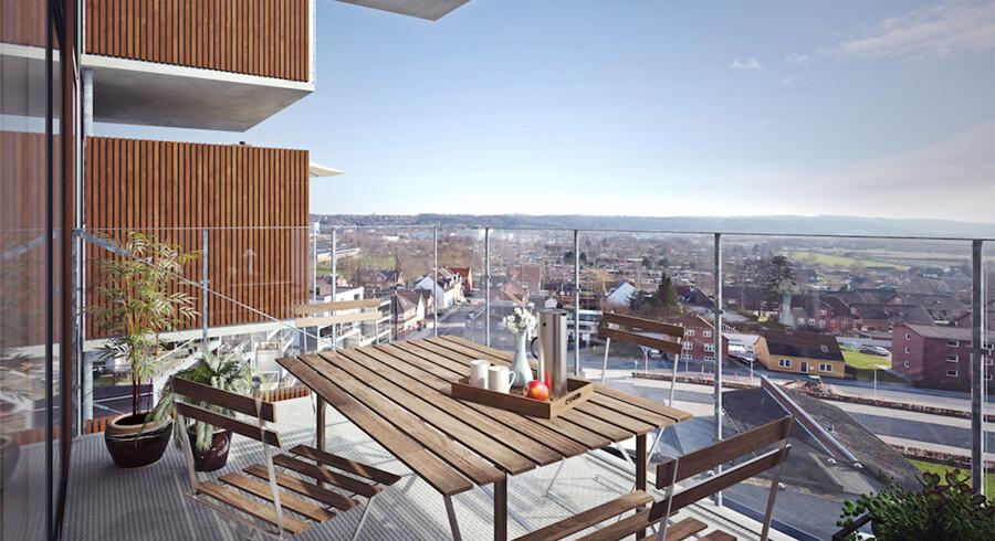 Fra altanerne i projektet Krygerhus i Vejle kommer der til at være en flot udsigt. Foto: PR/Nybolig Vejle