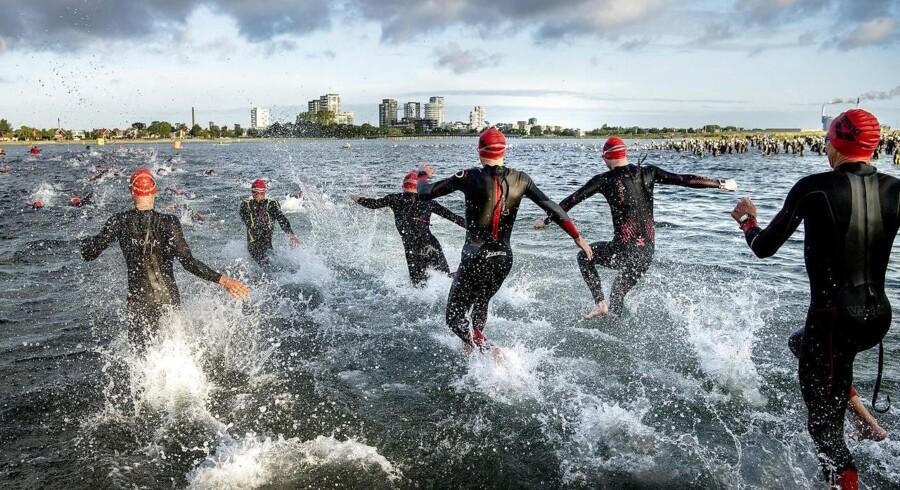 Søndag d. 20. august 2017 blev KMD IRONMAN Copenhagen afviklet. Deltagerne skulle først svømme 3, 8 kilometer, derefter cykle 180 km for at afslutte med et marathonløb (42, 2 kilometer). (Foto: Bax Lindhardt/Scanpix)