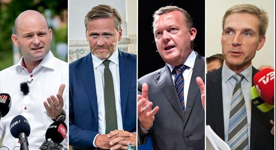 »Den kongelige undersøger«, Lars Løkke Rasmussen, mødtes lørdag først med repræsentanter for Konservative Folkeparti, Liberal Alliance og Dansk Folkeparti. Men nogen regeringsdannelse ligger tilsyneladende ikke lige for.