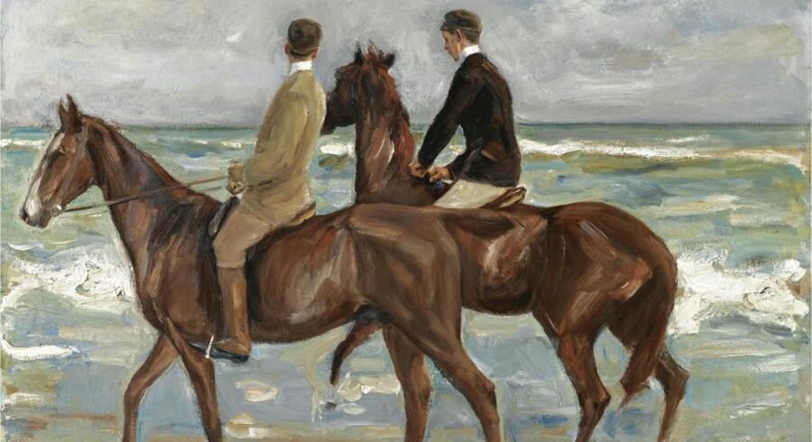 """Max Liebermanns maleri """"To ryttere på stranden"""" (1901) betragtes som en af hovedværkerne i tysk impressionisme. Max Liebermann døde i 1935 og undgk derved netop nazisternes jødeforfølgelser."""