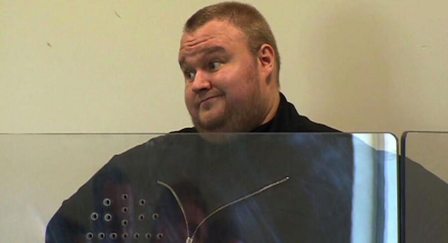 Den tysk-finske Megaupload-stifter Kim Dotcom i retten i Auckland i New Zealand.