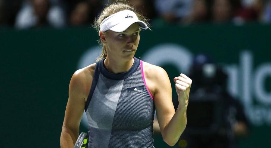 Caroline Wozniacki under en kamp i oktober mod Venus Williams. Nu skal de to kæmper møde hinanden i Parken i år.
