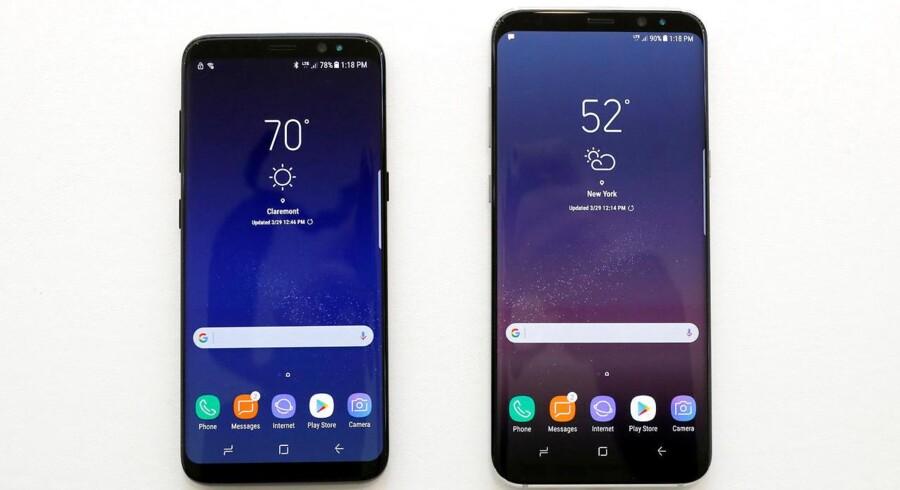 Galaxy S8 og S8 Plus, som kom i foråret, får allerede lige efter årsskiftet efterfølgere. Arkivfoto: Brendan McDermid, Reuters/Scanpix