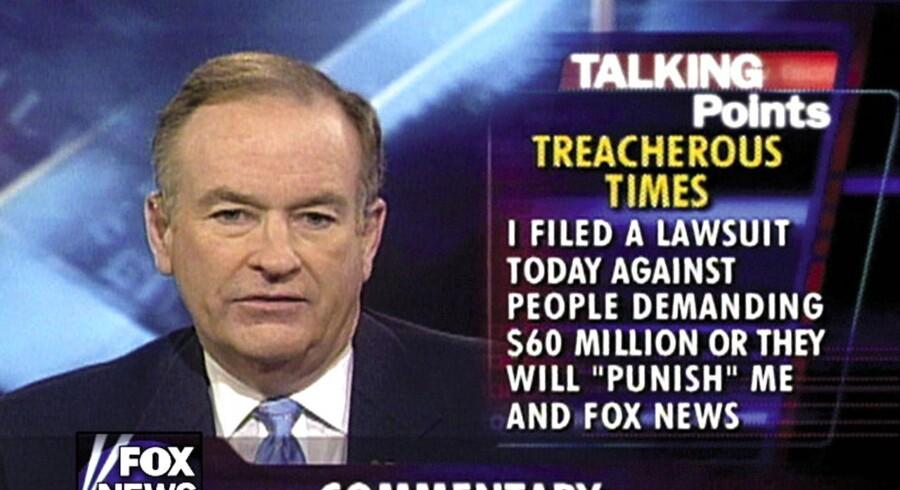 Bill O'Reilly i sine velmagtsdage, hvor han truede alle med gensøgsmål og buldrede løs i den bedste sendetid - og hans seere, Rupert Murdoch og præsident Trump elskede det. Nu er han færdig.