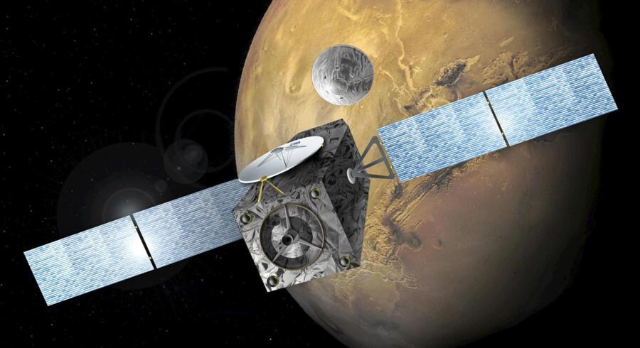 Det europæiske rumfartøj Schiaparelli er landet på Mars, men kontakten til fartøjet røg lige inden landingen. Foto: Scanpix
