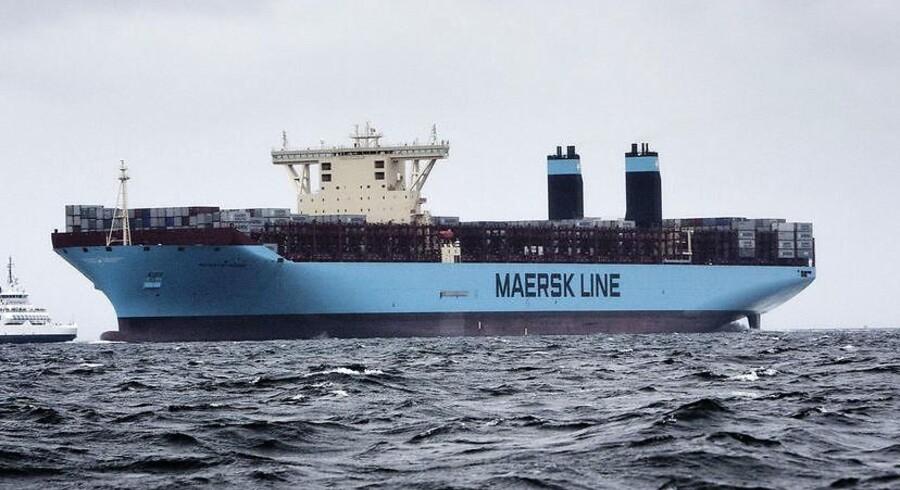 Mærsks nye containerskib, Majestic Maersk, som er verdens største. Mærsk Line vil bestille færre af de helt store containerskibe og balancere flåden mere. Det skriver Ritzau, mandag den 26. februar 2018.. (Foto: Thomas Lekfeldt/Scanpix 2018)